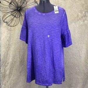 New Lane Bryant Ruffle Sleeve Tee Shop Shirt 14/16